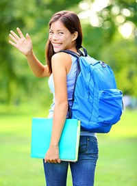 Stock Photo - Student Waving Back